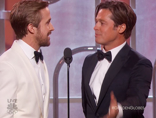 Brad Pitt and Ryan Gosling @ Golden Globes 2016